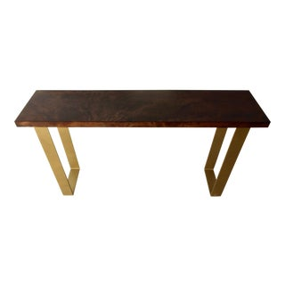 Mid-Century Modern Cherry and Steel Console Table For Sale