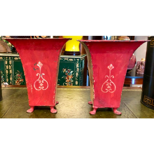 Mid-Century Red Tole Jardeniere Planters - a Pair For Sale - Image 4 of 8