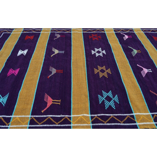 Purple Moroccan Silk Rug- 8' x 4'5'' For Sale - Image 4 of 5