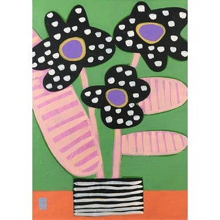Black Spotted Orchids Contemporary Painting For Sale