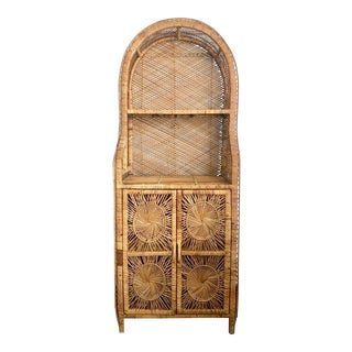 Vintage Rattan Hutch For Sale