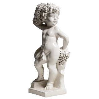 Italian White Glazed Ceramic Putti Holding Grape Bunches For Sale
