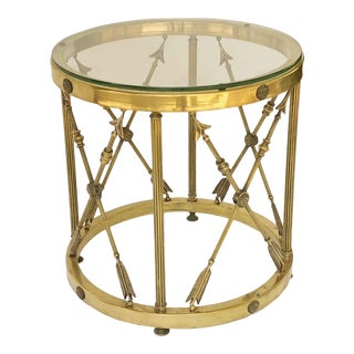 Round Brass and Glass English Occasional Table For Sale