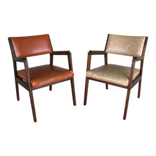 Jens Risom Mid Century Danish Modern Walnut Arm Chairs - a Pair For Sale
