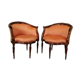 Southwood Mahogany Inlaid William IV Style Pair Barrel Tub Chairs For Sale