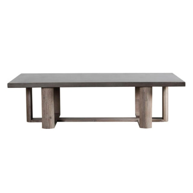 Modern dark gray finish cement lightweight cement top coffee table with acacia wood base. Great for outdoor or indoor use....