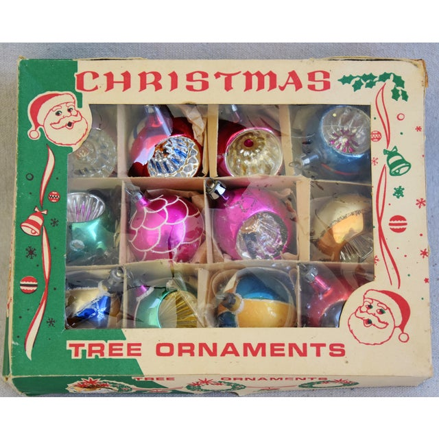 """Set of 12 vintage hand-decorated glass Christmas tree ornaments with box. No maker's mark. Ornaments, 1.75""""Dia x 2""""H; box,..."""