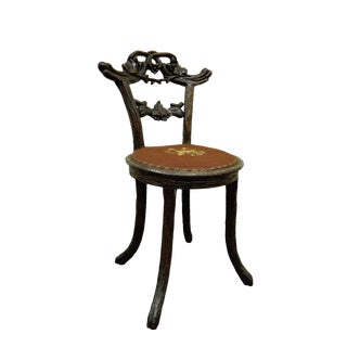 Antique Black Forest Faux Bois Carved Mahogany Twig Branch Side Vanity Chair For Sale
