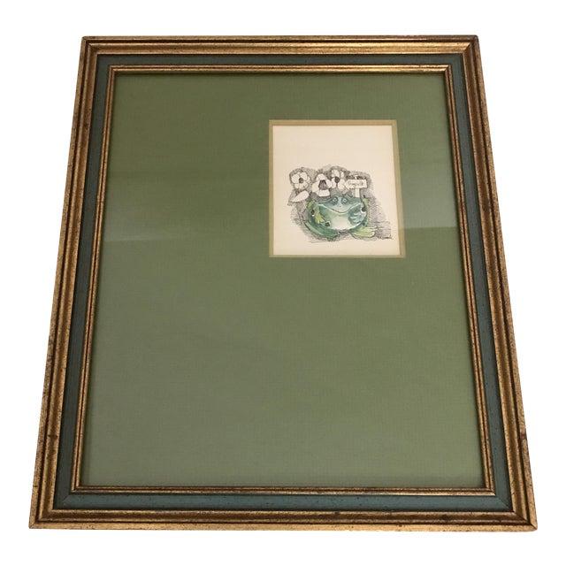 Mid-Century Framed Frog Print For Sale