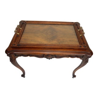 Intricately Carved Walnut French Rocco Serving Table With Removable Tray
