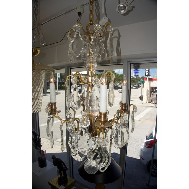 Louis XV Louis XV Bronze & Hand-Cut Crystal Chandelier From France Circa 1850 For Sale - Image 3 of 9