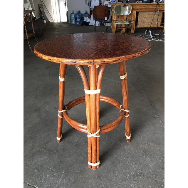 """Boho Chic """"Double Circle"""" Restored Rattan Side Table With Mahogany Top For Sale - Image 3 of 5"""