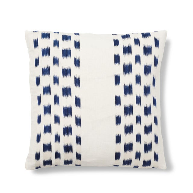 Blue Schumacher Izmir Stripe Pillow in Blue/White 26x26 - Pair For Sale - Image 8 of 8