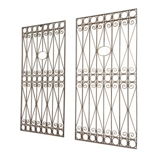 Large Heavy Pair of Wrought Iron Gates For Sale
