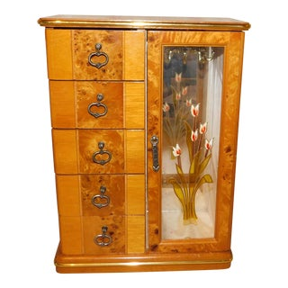 Vintage Wood and Stained Glass Jewelry Box For Sale