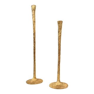 Tall Modern Gold Finished Textured Metal Candle Sticks Set of Two For Sale