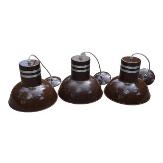1960s Brown Lightolier Industrial Pendant Lights - Set of 3 For Sale