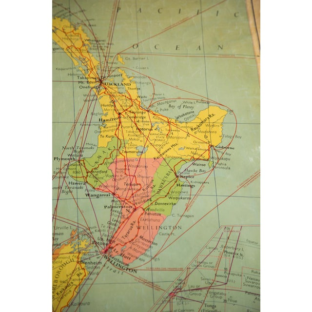 1960s Vintage New Zealand Pull Down Map | Chairish