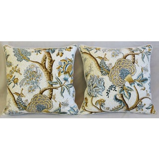 """French Jacobean Floral Cotton & Linen Feather/Down Pillows 24"""" Square - Pair Preview"""