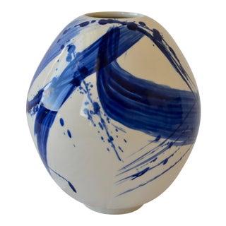 Contemporary Ceramic Medium Egg Vessel W/Cobalt Calligraphy For Sale