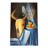 Image of Original Vintage Still Life Painting Cow Skull & Flowers For Sale