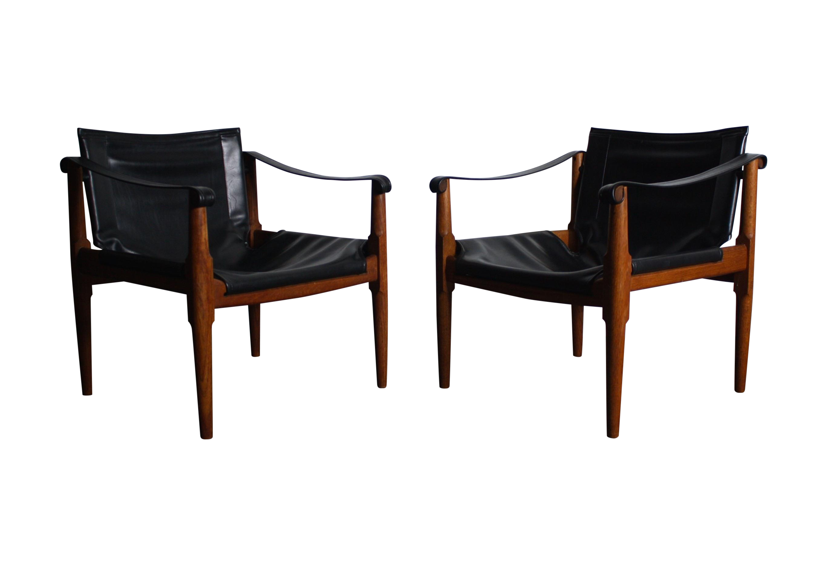 Superb Mid Century Teak And Leather Safari Chairs   Pair