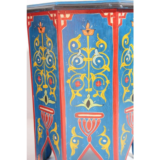 Hand Painted Blue Moroccan Pedestal Tables - a Pair For Sale - Image 12 of 13