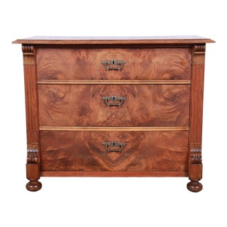 19th Century Continental Burled Walnut Three-Drawer Bachelor Chest For Sale