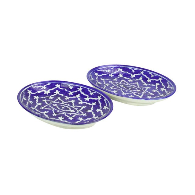 Navy Jaipur Platters - A Pair - Image 2 of 5