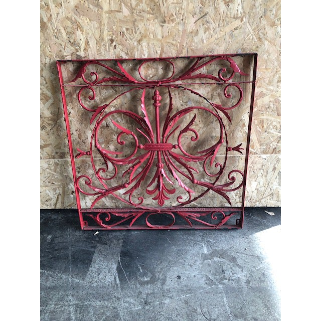 Red 19th Century Vintage French Wrought Iron Grille For Sale - Image 8 of 8