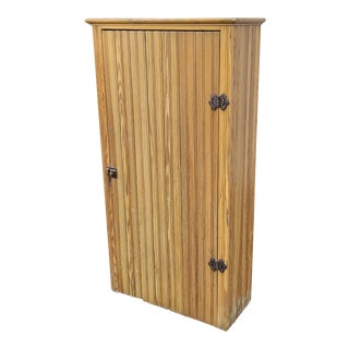 Very Good Antique Style Country Rustic Pine Single Door Pantry Cupboard Cabinet For Sale