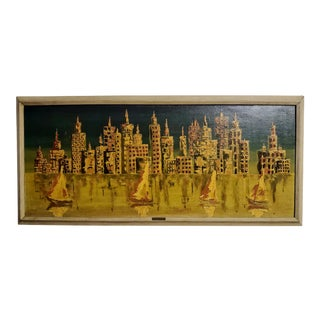 1956 New York Cityscape Oil Painting, Framed For Sale