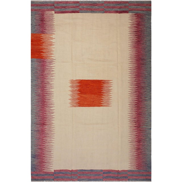 White Modern Bauhaus Ardath Ivory/Rust Hand-Woven Kilim Wool Rug - 8'11 X 11'11 For Sale - Image 8 of 8