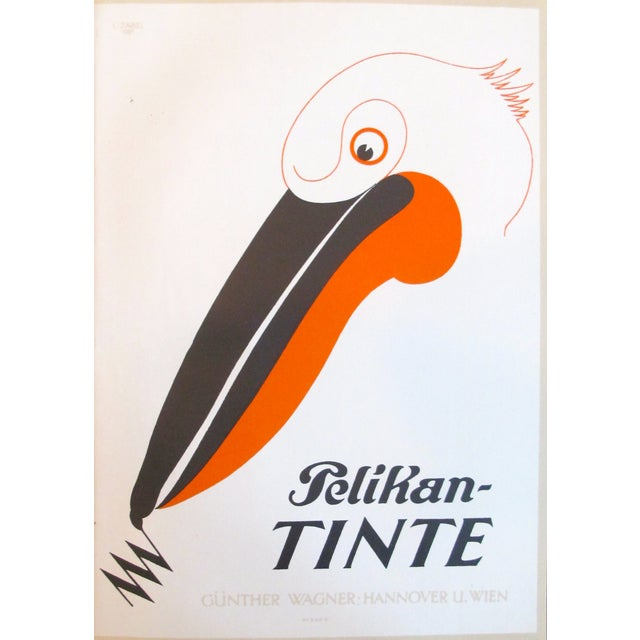 Original 1927 Lithographic Pelican Poster - Image 2 of 3
