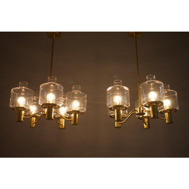Gold One of Two Brass and Glass Chandelier by Hans-Agne Jakobsson for Ab Markaryd Sweden For Sale - Image 8 of 13