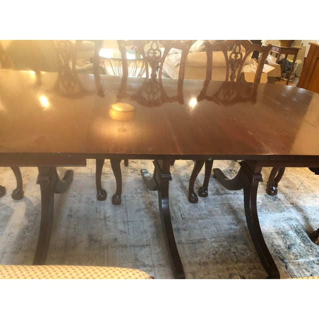 Late 20th Century Mahoghany Rectangular Dining Room Table and 8 Carved Chairs Set For Sale - Image 5 of 8