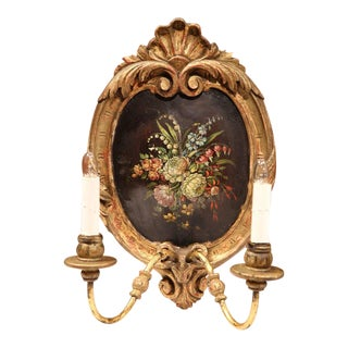 French Oval Gilt Sconces With Flowers - A Pair