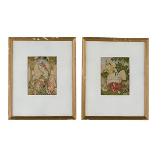 Antique European Renaissance and Indian Women Needlepoints - A Pair For Sale