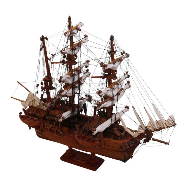 Traditional Hand Carved Ship Model For Sale