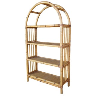Boho Chic Bamboo Rattan Domed Bookcase Etagere For Sale