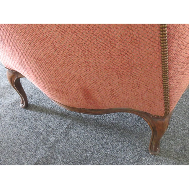Red Louis XV Style Wing Chair For Sale - Image 8 of 10