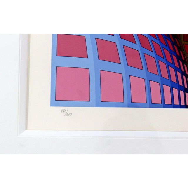 Mid-Century Modern Large Pop Op Art Framed Lithograph by Victor Vasarely 275/300 For Sale In Detroit - Image 6 of 8