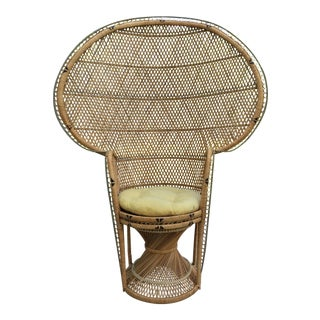 Vintage Wicker Peacock Emmanuel Woven Fan Back Chair For Sale