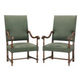 Image of Antique Pair of French Arm Chairs For Sale