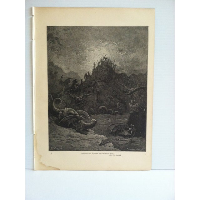 "This is an antique Paradise Lost print on paper that is titled ""Gorgons - and Hydras - Chimeras Dive"". The print is in..."