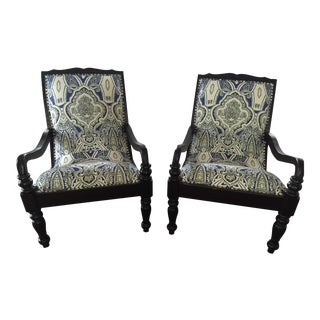 Designer Anglo-Indian Plantation Chairs with Custom Upholstery - A Pair For Sale
