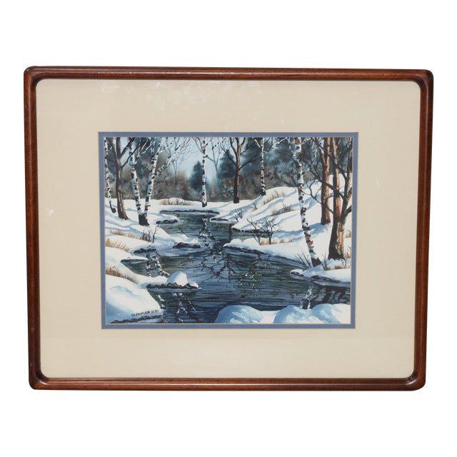 "Diane Phalen ""Pennsylvania Winter Landscape"" Original Watercolor C.1987 For Sale"