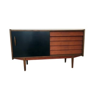 Mid-Century Modern Teak Sideboard With Black Lacquered Door by Hugo Troeds For Sale