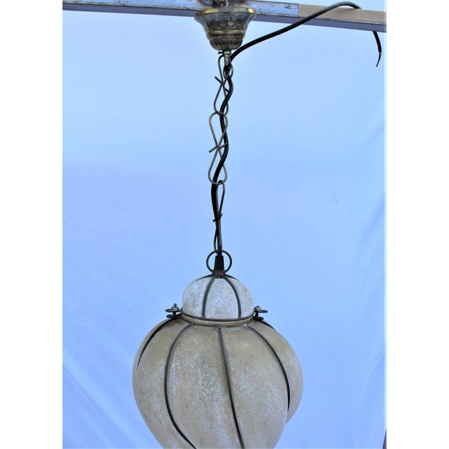 2000 - 2009 Italian Glass Lantern Frosted Wire Wrapped Lantern For Sale - Image 5 of 6