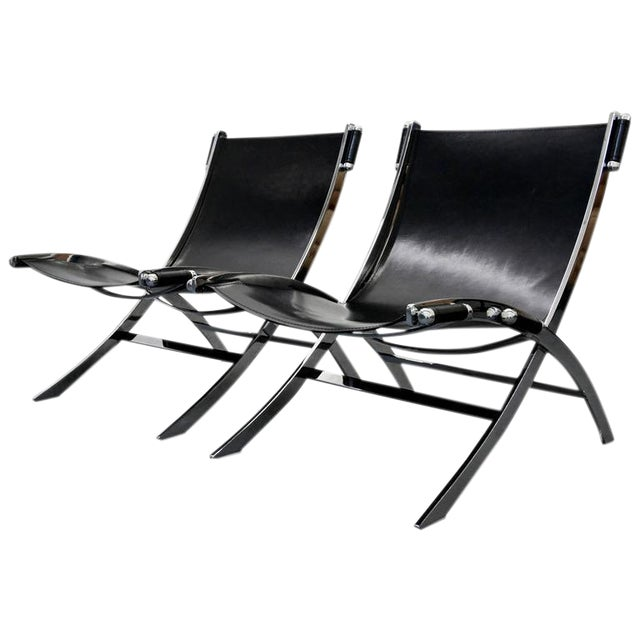 Italian Chrome & Leather Sling Scissor Chairs - A Pair - Image 1 of 8